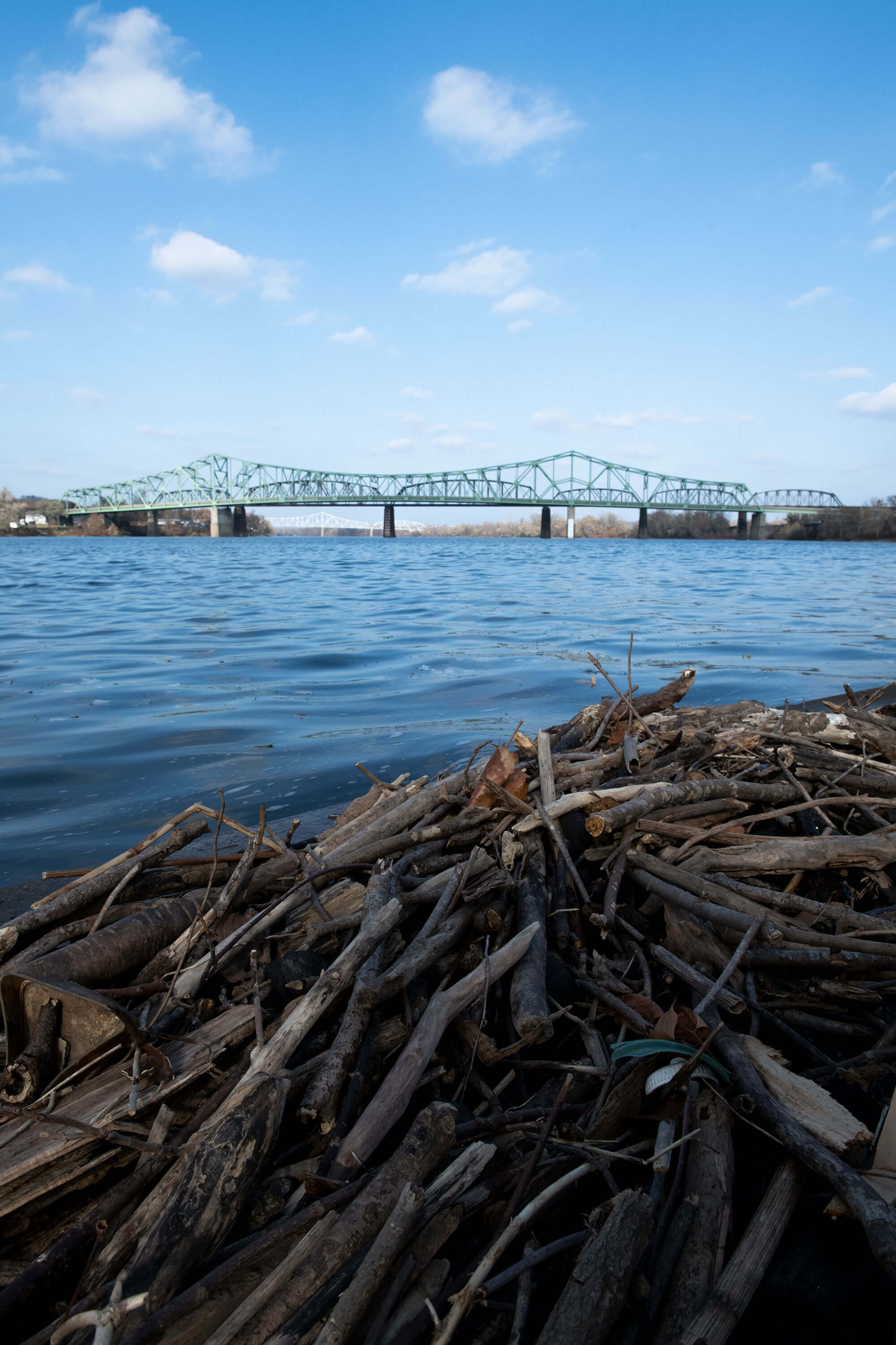 Driftwood is scattered along the shoreline at Point Park in Parkersburg, West Virginia, on Nov. 20, 2019. (Photo by Lexi Browning/100 Days in Appalachia)