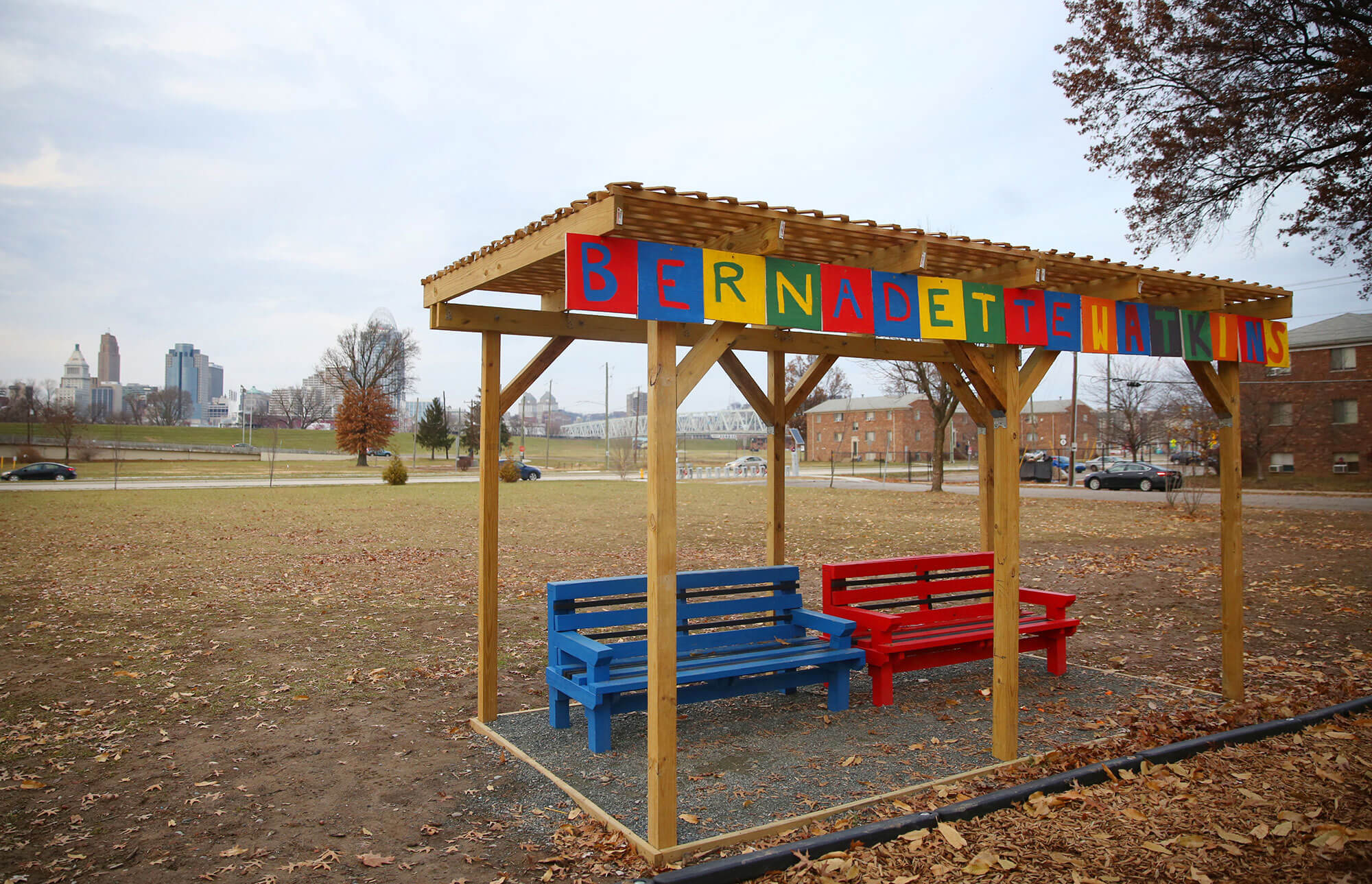 A small shelter with benches at Bernadette Watkins Park in Newport, Kentucky. (Photo by Leigh Taylor/Eye on Ohio)